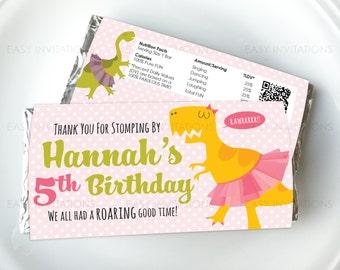 Girl Dinosaur Chocolate Wrapper, Dino Candy Wrapper, Dino Birthday, Personalised, Digital, Printable, Dancing Dino, ballet, aldi, hershey