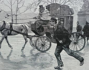 G Scott 1899 SANS TRAVAIL of PARIS  Horse and Coach Running Baggage Carrier Professionally Matted Antique Engraving Art Print Ready to Frame