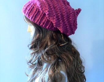 Knit Hat Women Pink Knit Hat Goth Ha, Pixie Hat Slouchy Knit Hat Slouch Beanie Hand Knit Hat Knit Beanie Woodland Clothing