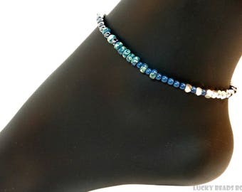 Womens anklet beaded anklet women blue anklet seed beads anklet blue ankle bracelet  beach anklet foot jewelry stretch anklet BA-06-03