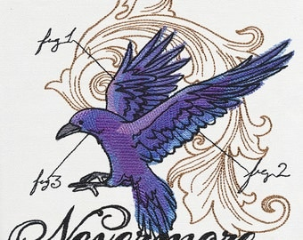 POETIC DARK RAVEN Artistic Technical Rendering Machine Embroidered Quilt Square, Art Panel
