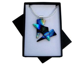 Handmade fused dichroic glass 'Criss Cross' pendant