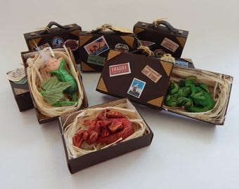 Fantastic Beasts type matchbox suitcase with polymer clay charm