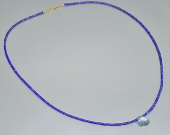 Fine Lapis Lazuli necklace with Aquamarine drop 14K gold clasp - gift idea - elegant fine jewelry - AAA Grade Lapis - center piece necklace