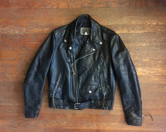 Vintage 1970s PARK V Black Leather Biker Motorcycle JACKET Size Small Medium 38 Buco Excelled