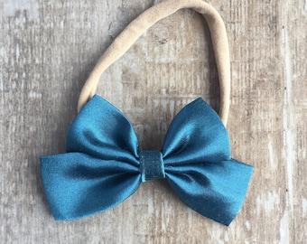 Blue satin bow, satin bow, nylon bow, blue bow, newborn bow, baby bow, toddler bow, satin newborn bow, baby girl bow, girl bow, headband