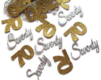 70th birthday decorations, ready in 1 week, 70 confetti, seventieth anniversary, seventy years, silver, gold, glitter, table decor, 50CT