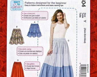 McCall's Easy Sewing Pattern M7604, Gathered Skirts, Tiered, Mini, Maxi, Sizes XS S M, Gypsy Boho Hippie Fashion, Casual Sportswear, UNCUT
