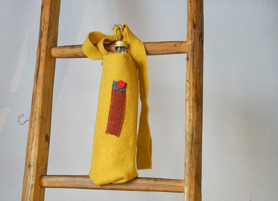 Water Bottle Holder I yellow Bottle Holster I Shoulder holster for water bottle all sizes I Handmade Gift I school Water bottle Carry