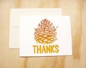 Single Card - Orange Pinecones Thanks Card - 1 Block Printed Card - Thanksgiving - Fall Autumn
