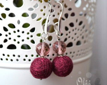 "Earrings from Cotton Balls ""Marsala"" - Handmade Cotton Jewelry"