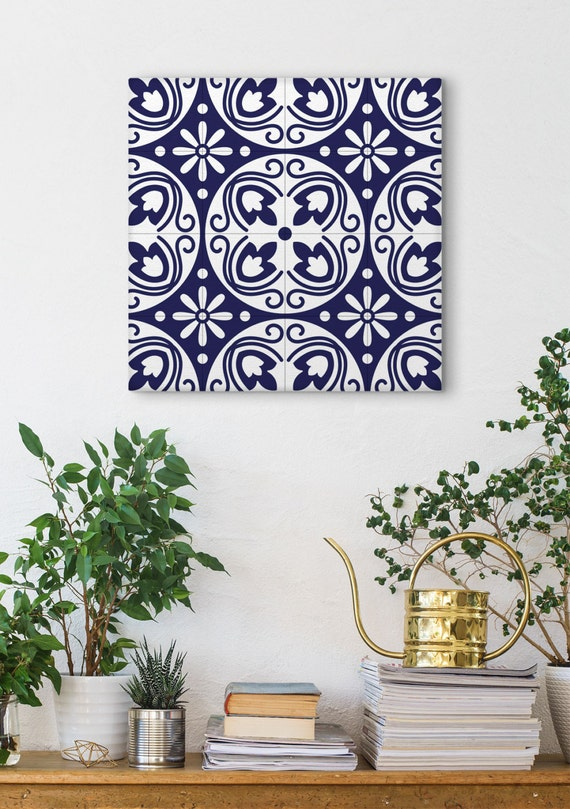 Vintage Canvas Print, Blue Tile Art, Modernist Wall Art, Wall Decoration, Square Prints, Barcelona Tiles, Graphic Canvas, Ceramic Tile Print