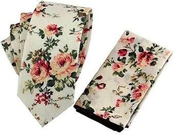 Wedding Tie Pink White Floral Tie with Pocket Square Wedding Flower Necktie Cotton Groomsmen Ties Groomsman Wedding Neckties Best Man Groom