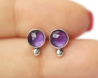 Amethyst Silver Ball Earstuds, amethyst earrings, 925 amethyst earposts, 6 mm amethyst studs, bridemaids studs, formal office earpost, tiny