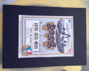 Vintage Wine Label, Entre-Deux-Mers, Vin Blanc, Vintage Label, Antique Label, Matted Label