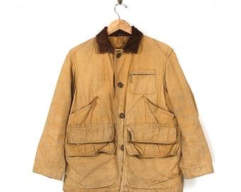 Vintage Hunting Jacket - 50s Sears Roebuck Field Master Tan Canvas Duck Jacket - 50s Cord Collar Tin Cloth Workwear Field Jacket