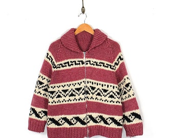 Vintage Cowichan Sweater - 70s Native American Authentic Wool Cowichan - 70s Boho Hippie Hand Knit Pink Cream Black Zip Up Cowichan Sweater