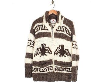 Vintage Cowichan Sweater - 70s Native American Authentic Wool Thunderbird Cowichan - 70s Canadian Boho Hand Knit Zip Up Cowichan Sweater