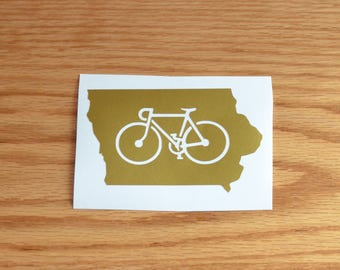 State of Iowa Bicycle Vinyl Decal-Great for RAGBRAI-Can be customized to any other state