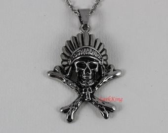 Pirate necklace, stainless steel pirate skull necklace, skull necklace, skeleton necklace, skull pendant, steel skull, skull jewelry, NE7019