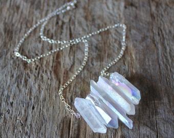 Angel Aura Quartz Stone Bib Necklace- Silver