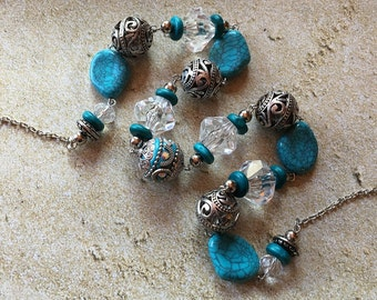 Blue Necklace, Glass Beaded Necklace, Beadwork Necklace, Statement Necklace, Gift For Her