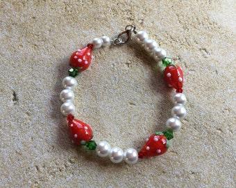 Strawberry Bracelet, Beaded Bracelet, Lampwork Bracelet, Beadwork Bracelet, Dangle Bracelet, Summer Bracelet, Gift For Her