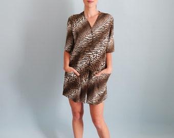 Slouchy Green Leopard/Animal Print Mini Dress/T-Shirt Dress