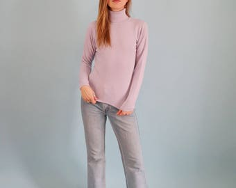 Super Soft Lilac Purple 90s Turtleneck Sweater
