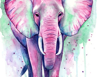 Elephant Watercolour Painting - Art Print