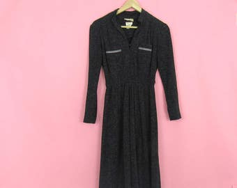 70s Charcoal Gray Striped Pocket Midi Dress