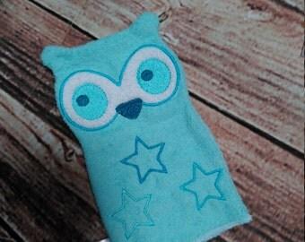 Owl, Blue Owl Wash Glove, Bathtime Wash Puppet, Owl Puppet, Shower Glove, Washer, Owls, Kids Wash Cloths