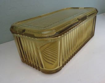 Vintage Amber Refrigerator Dish with Lid - Ribbed Covered Fridgie Box