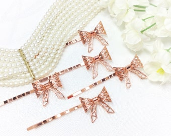 5 Pc. Rose Gold Little Bow Hair Clips, Bobby Pins, Barrette, Vintage Accessories For Weddings, Dress up, Bridal Shower, Tea time #A374