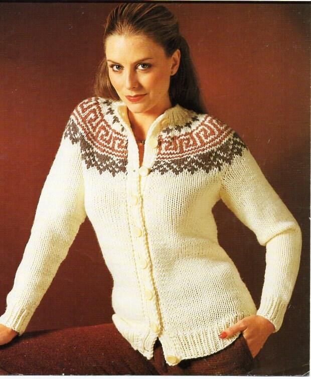 Vintage Womens Fair Isle Cardigan Knitting Pattern Pdf Ladies
