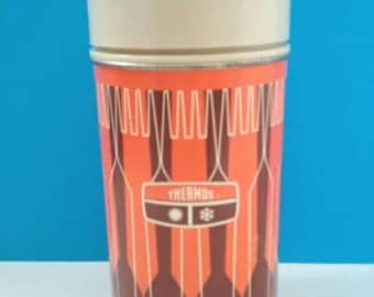 Vintage Brown And Orange Thermos, Vintage, 1960s Thermos, Functional, Drink Carrier, Retro Thermos.