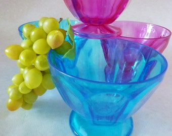 Sundae cup Bowl Set transparent pink turquoise Rockabilly Kitchen Accessories