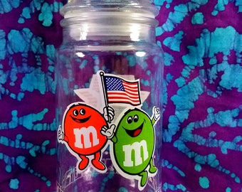 M&M's Candy Jar ~ 1984 ~ US Olympic Games ~ Anchor Hocking ~ Stars and Stripes ~ Commemorative Souvenir ~ Container ~ My Nostalgic Life