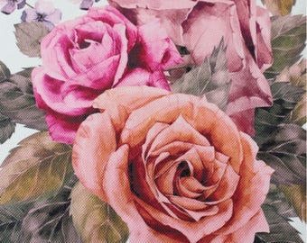 Floral Upholstery Fabric, Furnishing Fabric Big Roses, Vintage Style Durable Fabric, Non-fade Drapery Fabric, by the Yard/Metre, DB-306-V5