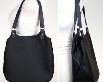 Shopper bag sewing pattern and tutorial, shoulder purse, faux leather handbag - t009