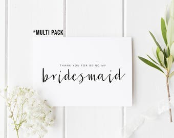 MULTI PACK Thank You For Being My Bridesmaid, Wedding Thank You, Bridesmaid Thank You Card, Wedding Card Bundle, Maid of Honour, Flower Girl