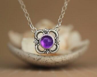 Purple Amethyst Victorian Fleur de Lis Silver Necklace in Sterling - Fleur de Lys Pendant with Chain - Silver Flower Pendant Necklace