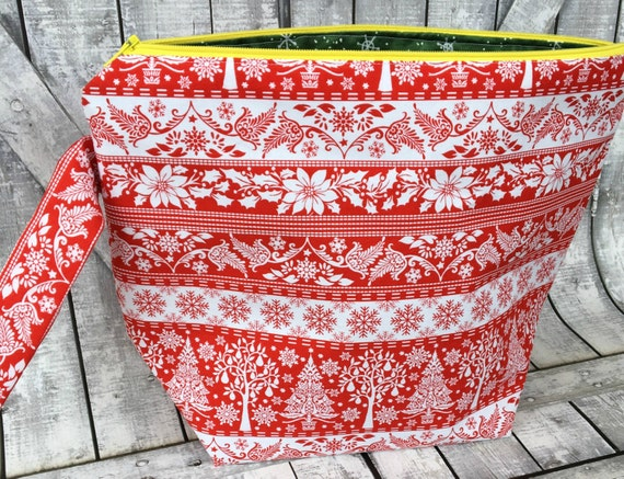 Knitting Project Bag,Scandinavian Reindeer wedge knitting bag,yarn keeper,Sock Project Bag,crochet project bag,knitting bag,Toad Hollow Bags