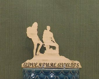 Hiking Couple Cake Topper, Contains a Male and Female Hiker.  Adventure Awaits Phrase or your Phrase or Name, Hike, Climb, Outdoors