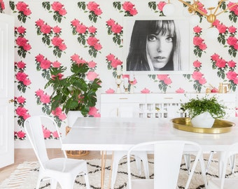 Hot Pink Roses Removable Peel 'n Stick Wallpaper