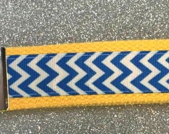 Chevron Key Fob Wristlets...CHOOSE COLOR! Blue Chevron with YOUR Color Choice of Webbing (Backing)