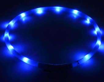 Electric Blue LED Rechargeable Dog Collar