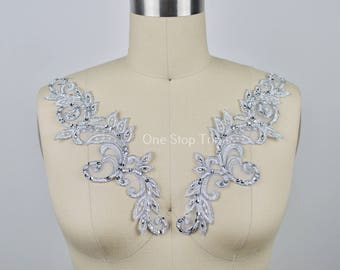 "Laadah Silver Lace Applique Pair. Swirl Silver Scattered  with Beads and Sequins. Symmetrical Shaped 10"" in Size"