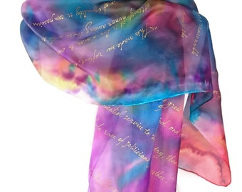 Gulliver's Travels, Jonathan Swift quotes, Hand Painted Silk Scarf 18 X72inch Gift-Wrapped,