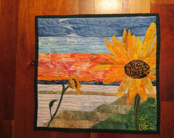 Thread-painted Sunflower Wall Quilt